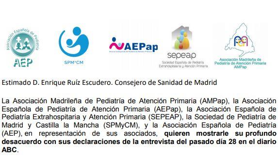 La SEPEAP se suma a la carta de las Sociedades Pediátricas al consejero de Sanidad de la Comunidad de Madrid