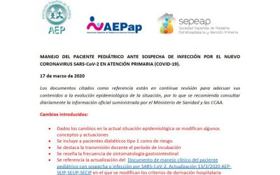 Modificación del Manejo del paciente pediátrico ante sospecha de infección por el nuevo coronavirus sars-COV-2 en Atención Primaria (covid-19)