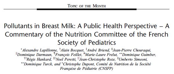 Contaminantes en la leche materna desde una perspectiva de salud pública.  Comité de Nutrición de la Sociedad Francesa de Pediatría