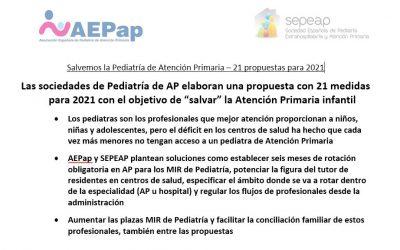 """Las sociedades de Pediatría de AP elaboran una propuesta con 21 medidas para 2021 con el objetivo de """"salvar"""" la Atención Primaria infantil"""