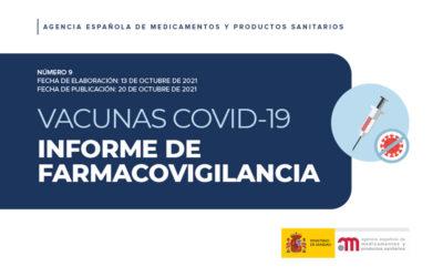 La AEMPS publica el informe nº 9 de farmacovigilancia de las vacunas COVID-19